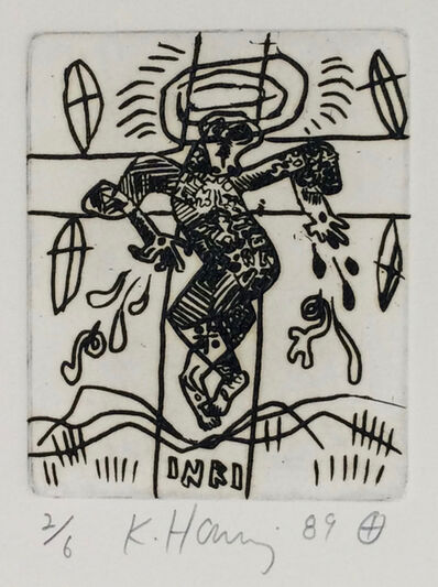 Keith Haring, 'Untitled (very rare work, hand signed edition of edition of 6)', 1989