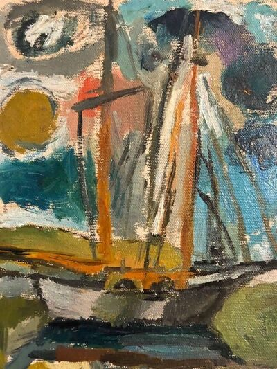 Abbott Pattison, 'American Modernist Oil Painting Abstract Boat, Chicago Artist', 1950-1959