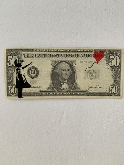 "Banksy, 'BANKSY DISMALAND ""BALLOON GIRL"" ON $50 NOTE', 2015"
