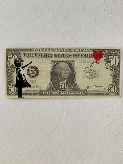 "Banksy, 'BANKSY DISMALAND ""BALLOON GIRL"" ON $50 NOTE', 2015"
