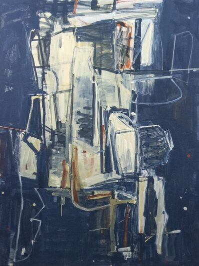 Shireen Kamran, 'The Sum of All Parts No 23 - blue, red, white, yellow, abstract acrylic painting', 2020