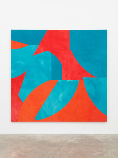 Sarah Crowner, 'Sliced Shapes, Turquoise and Reds', 2018