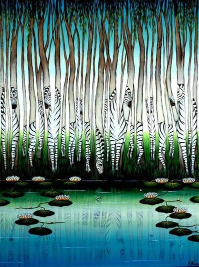"Gustavo Novoa, 'Large Jungle Painting ""8 Virtual Zebras"" Gustavo Novoa', 20th Century"