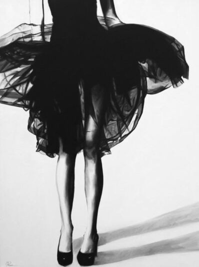 "Cindy Press, '""Let's Make Believe"" black and white oil painting of a woman in a dress's legs ', 2020"