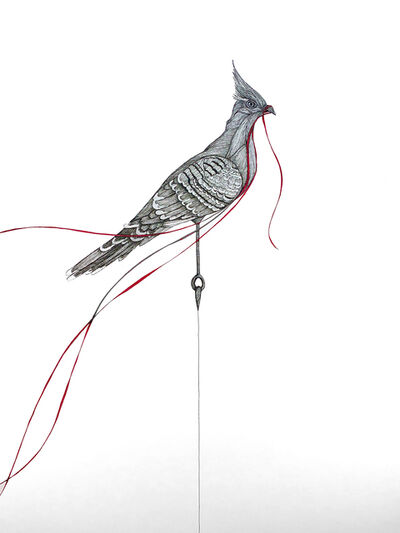 Katherine Filice, 'Protester - Pen and Ink Black and White Drawing of Cardinal with Red Ribbon ', 2019