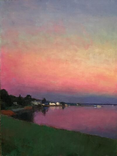 "Larry Horowitz, '""Dusk Reflections"" oil painting of a pink sunset over water and green grass', 2020"