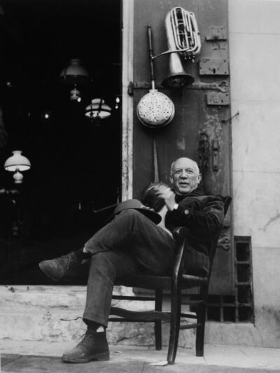 Lucien Clergue, 'Picasso in front of an antiques store, Arles', 1965