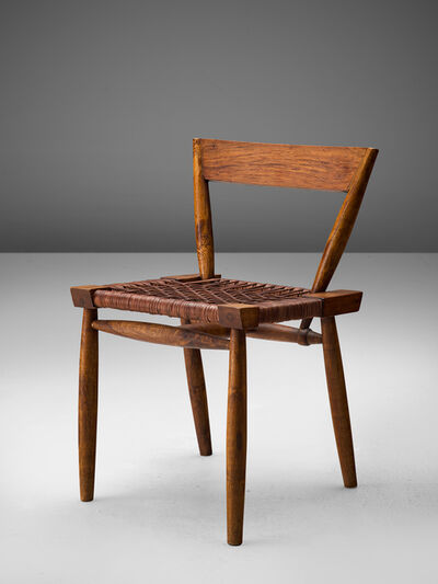 Unknown, 'Sculptural Side Chair with Woven Leather Seat', 1950s