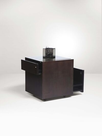 Franco Bettonica, 'A bar cabinet with a lacquered wood structure and steel top', 1970 ca.