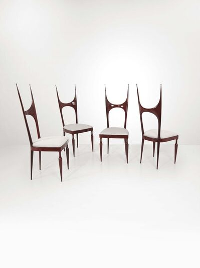 Pozzi and Verga, 'Four wooden chairs with fabric seats', 1950 ca.