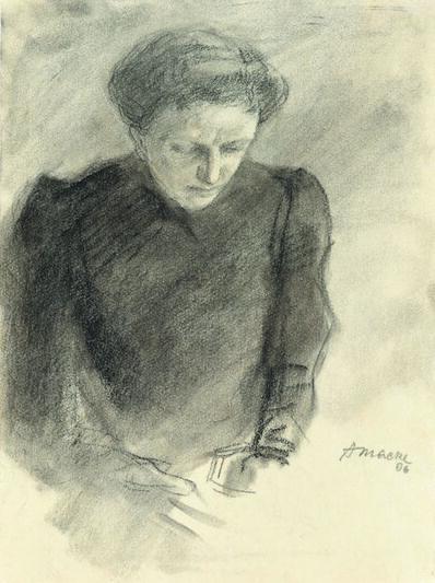 August Macke, 'Ottilie Macke mit gesenketm Blick', 1906
