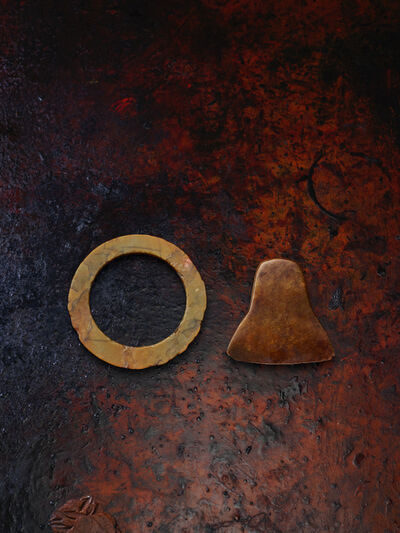 Unknown Chinese, 'Jade axe and hardstone disc', Neolithic period, (2500, 2000 BCE)