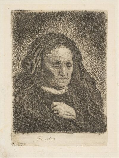 Rembrandt van Rijn, 'The Artist's Mother with Her Hand on Her Chest', 1963