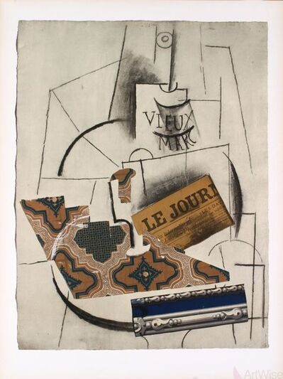 Pablo Picasso, 'Bottle of Vieux Marc, Glass and Newspaper', 1956
