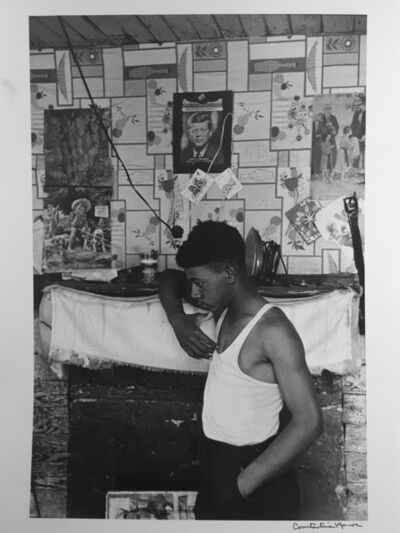 Constantine Manos, 'Untitled, Sharecroppers, South Carolina (man in white tee shirt near fireplace, JFK)', 1965