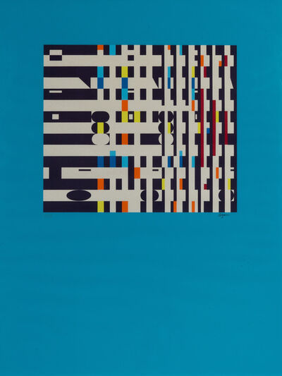 Yaacov Agam, 'Geometric abstract on a blue background'