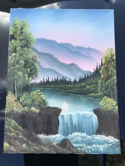 Bob Ross, 'Bob Ross Mountain Waterfall Signed Original Painting Contemporary Art', 1980