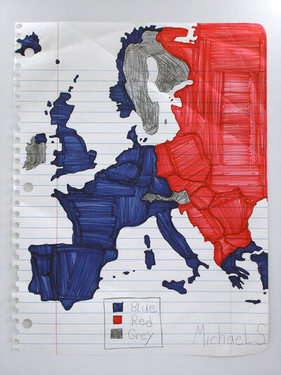 Michael Scoggins, 'Blue, Red, Grey Map (Europe)', 2007