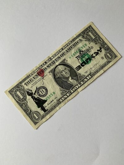 """Banksy, ' BANKSY DISMALAND US DOLLAR, """"BALLOON GIRL"""", REAL CURRENCY DOLLAR, COMPLETE WITH COA FROM DISMALAND', 2015"""