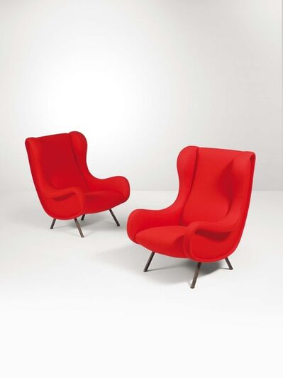 Marco Zanuso, 'A pair of Senior armchairs with a metal structure, brass stands and fabric upholstery', 1951