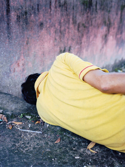 Vincent Delbrouck, 'Yellow sleeper, Kathmandu (Nepal), from the series Dzogchen ', 2014
