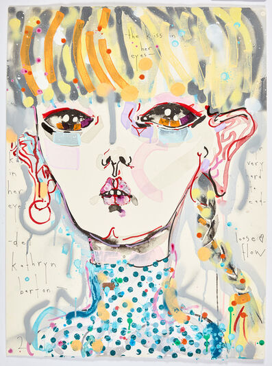Del Kathryn Barton, 'the kiss in her eyes - yr very hard to read - loose flow', 2017