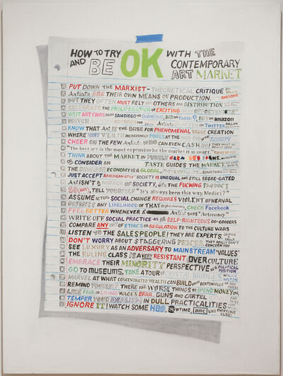 William Powhida, 'How To Try To Be OK With The Contemporary Art Market', 2014