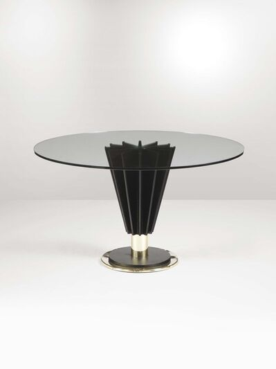 Pierre Cardin, 'A low table with a brass base, a cast iron shaft and a glass top', 1970 ca.