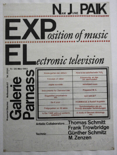 Nam June Paik, 'Exposition of Music – Electronic Television: Exhibition Poster', 1963