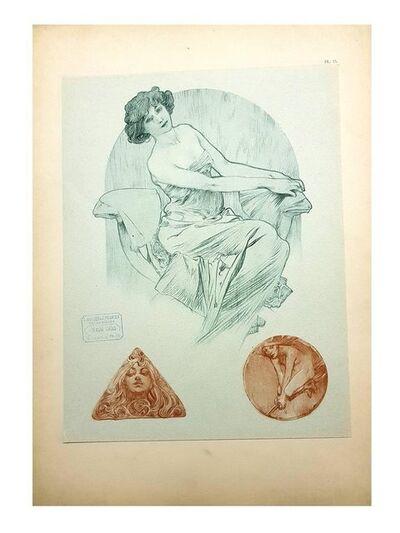 """Alphonse Mucha, 'Original Lithograph """"Woman Trio"""" by Alphonse Mucha', 1902"""