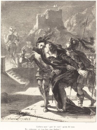 Eugène Delacroix, 'Hamlet Wishes to Follow the Ghost of his Father (Act I, Scene IV)', 1835