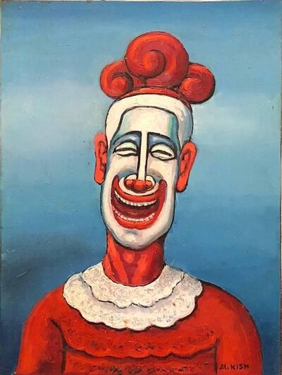 Maurice Kish, 'Clown, Modernist Oil Painting on Board WPA Artist', Early 20th Century