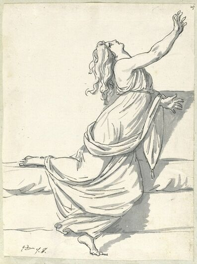 Jacques-Louis David, 'A Distraught Woman with Her Head Thrown Back', 1775/80