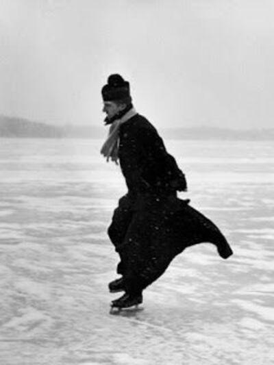 John Dominis, 'Preist ice skating, Detroit, MI', 1954
