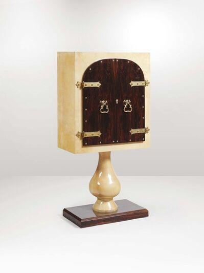 Aldo Tura, 'A bar cabinet with a wooden structure, brass details and a parchment covering', 1960 ca.