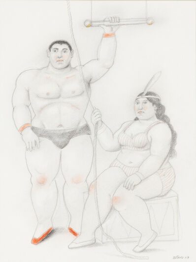 Fernando Botero, 'Trapezist couple with a rope', 2007