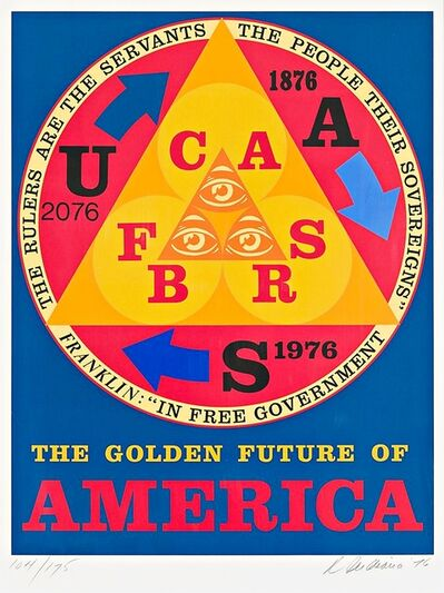 Robert Indiana, 'THE GOLDEN FUTURE OF AMERICA (Bicentennial Portfolio: An American Portrait)', 1976