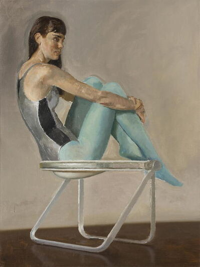 Andrew S. Conklin, 'Lily in Blue Tights on Pluff Chair', 2014