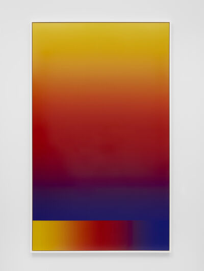 "Cory Arcangel, 'Photoshop CS: 84 by 50 inches, 300 DPI, RGB, square pixels, default gradient ""Blue, Red, Yellow"", mousedown y=23400 x=7500, mouseup y=600 x=7500; tool ""Wand"", select y=23000 x=7320, tolerance=32, contiguous=off; default gradient ""Blue, Red, Yellow""', 2015"