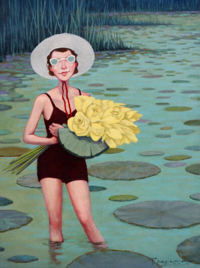 """Fred Calleri, '""""Lotus Land"""" oil painting of a woman in a black swimsuit holding yellow flowers standing in a lake with lily pads', 2020"""