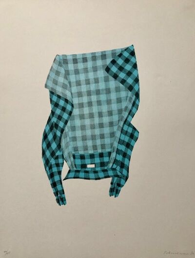 George Schneeman, 'Untitled Still Life Hanging Plaid Shirt, Figurative Poetry Lithograph', 1980-1989