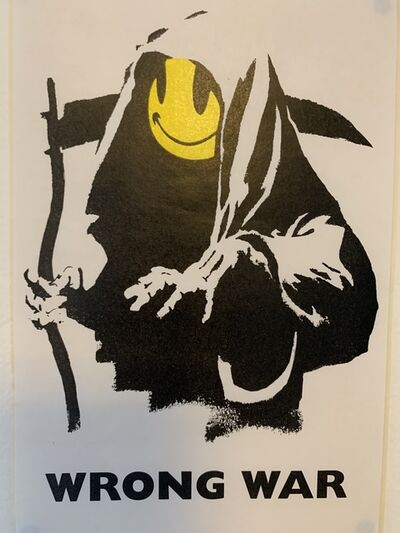 "Banksy, 'BANKSY ""WRONG WAR"" GRIN REAPER STICKER & COA FROM LAZINC', ca. 2003"