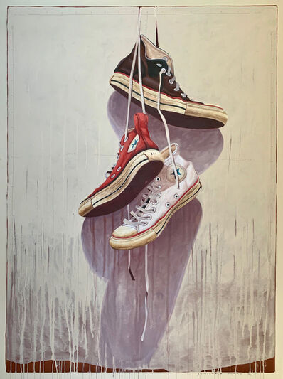 "Santiago Garcia, '""#1332"" photorealist oil painting of red, white and black converse high tops hanging on neutral background', 2019"
