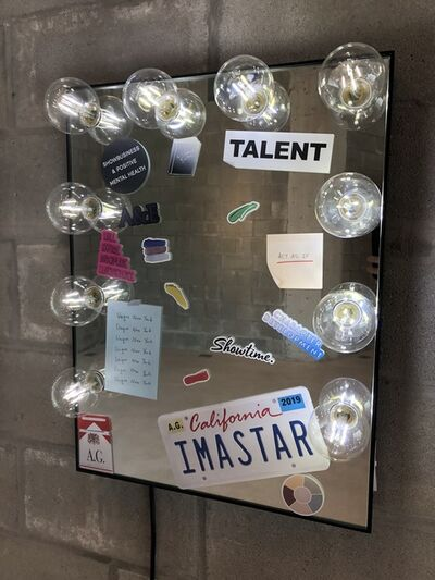 A.G., 'Untitled (vanity mirror with prop stickers)', 2019