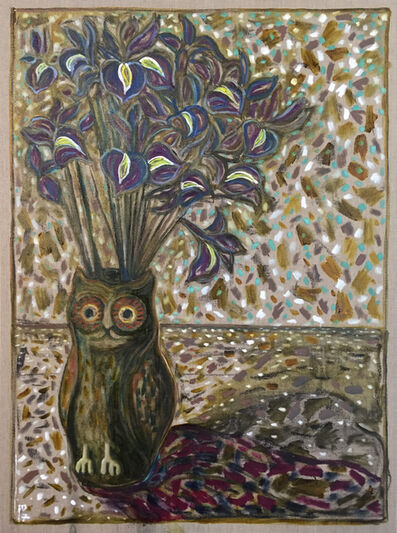 Billy Childish, 'flags in owl pot', 2017