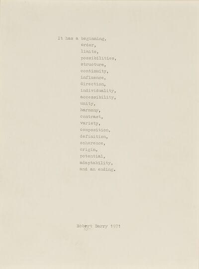 Robert Barry, 'It Has...', 1971