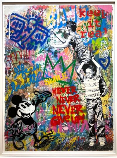 Mr. Brainwash, 'Never Never Give up | unique and original mixed media street art', 2020