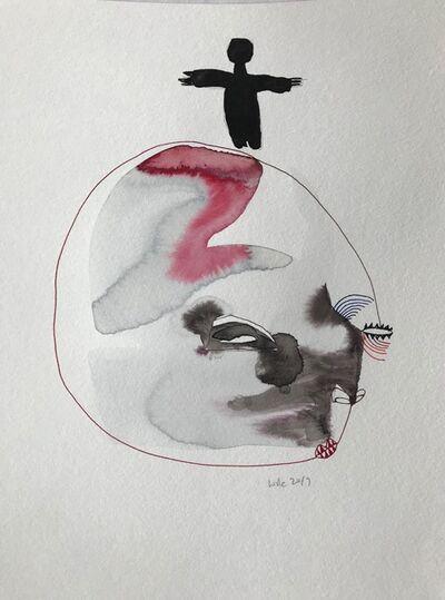 Wole Lagunju, 'Figure atop a face ', 2017