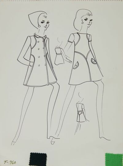 Karl Lagerfeld, 'Karl Lagerfeld Original Fashion Sketch Ink Drawing with Fabric T-760', 1963-1969