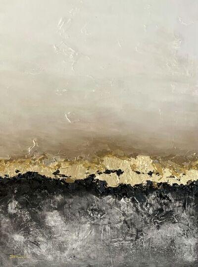 Daniela Pasqualini, 'Evening Glow - Poetic Landscape - Black, Gold,', 2021
